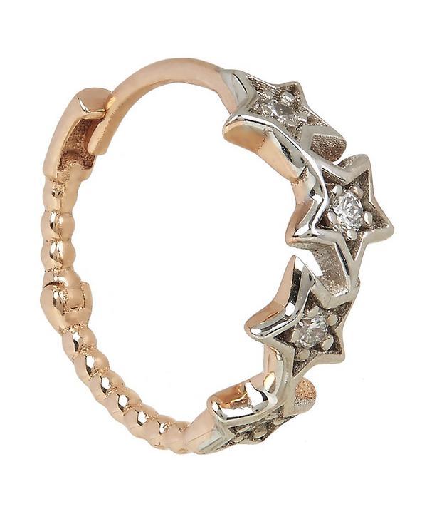 Rose Gold and White Diamond Geometry Star Single Hoop Earring