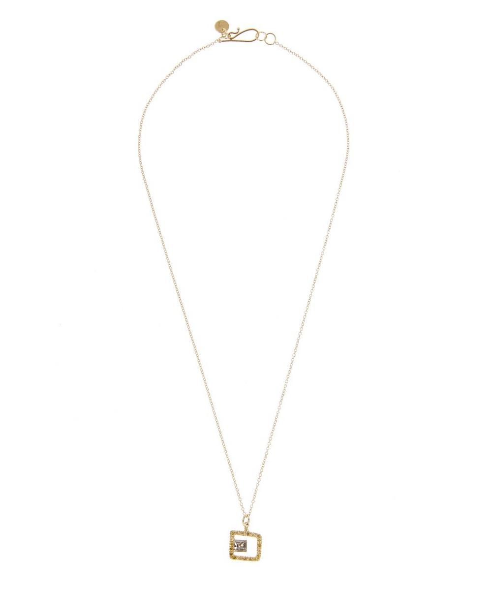 Gold and Diamond Cut-Out Square Pendant Necklace