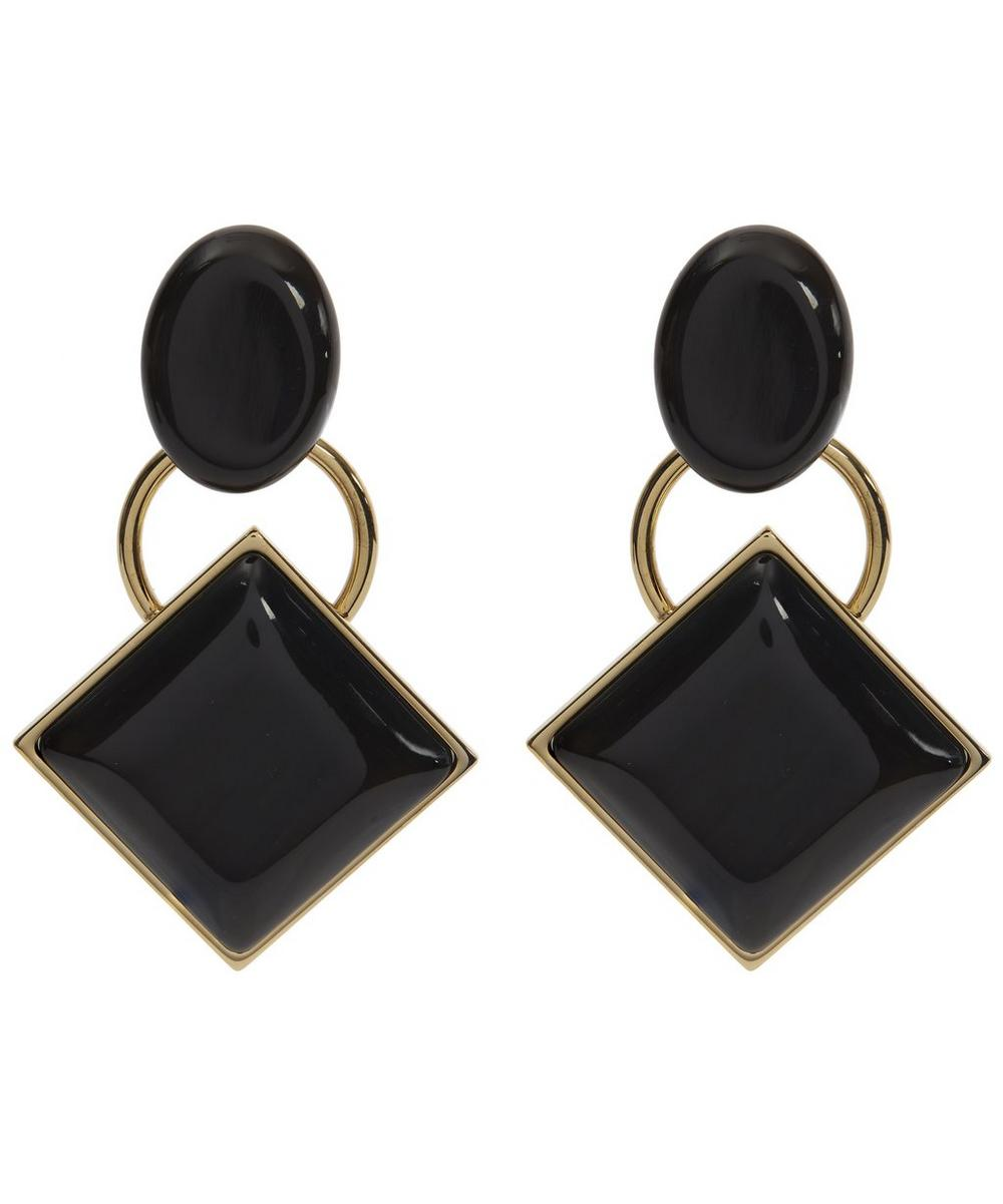 Metal and Horn Clip-On Earrings