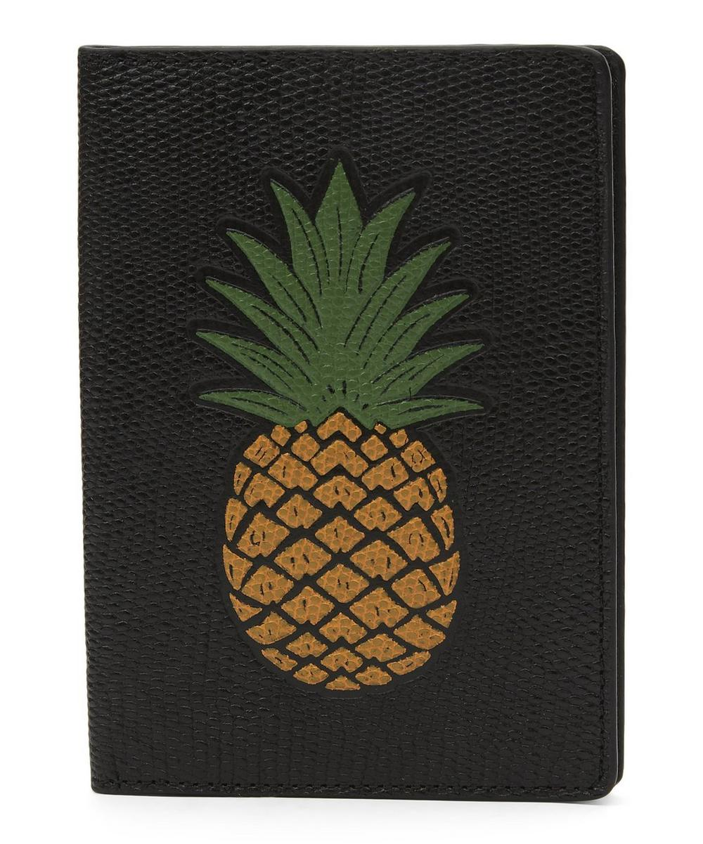 Pineapple Lizard-Embossed Passport Cover