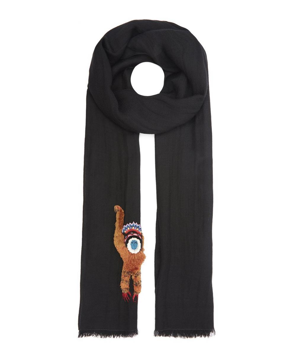 Monkey Embroidered Scarf