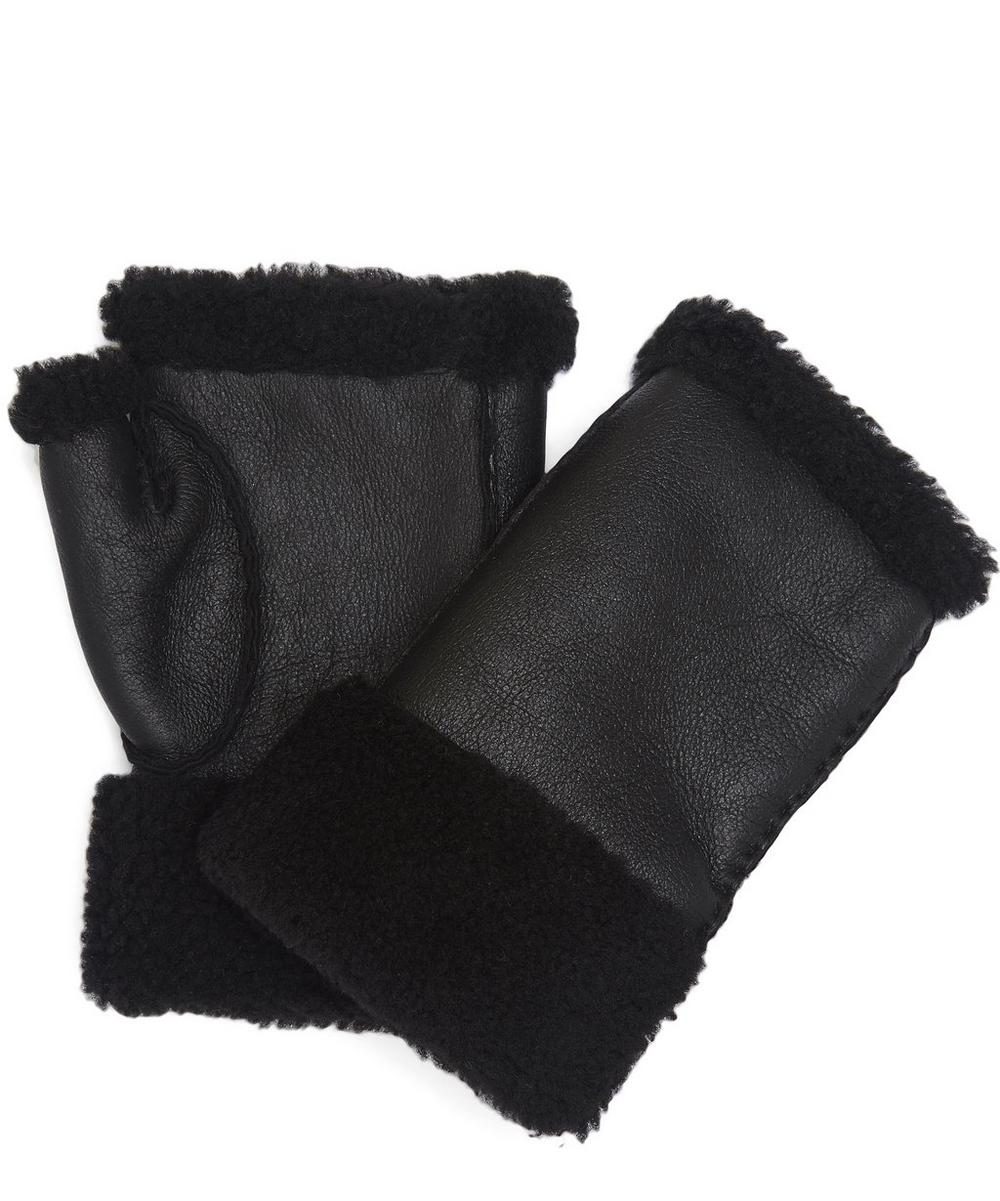 Leather Shearling Fingerless Gloves