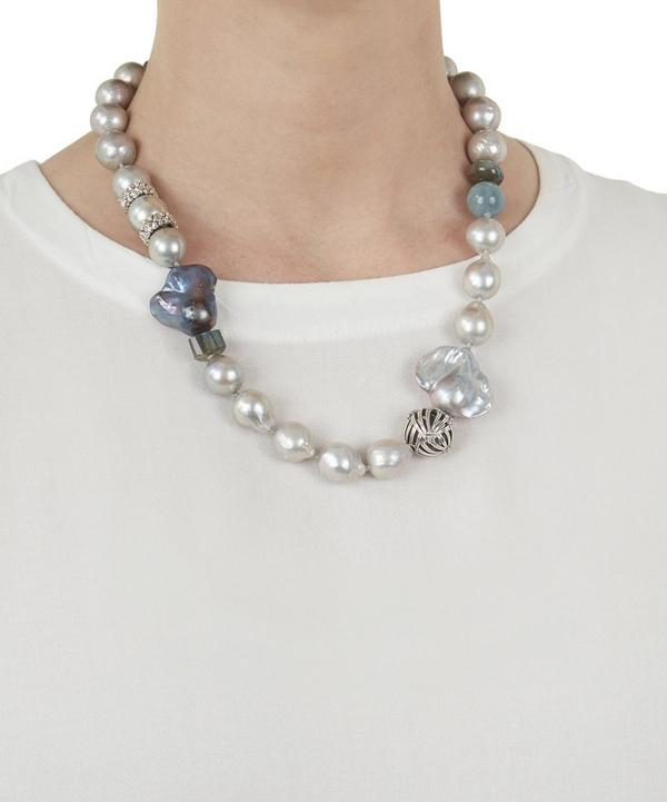 Engraved Silver and Baroque Pearl Necklace