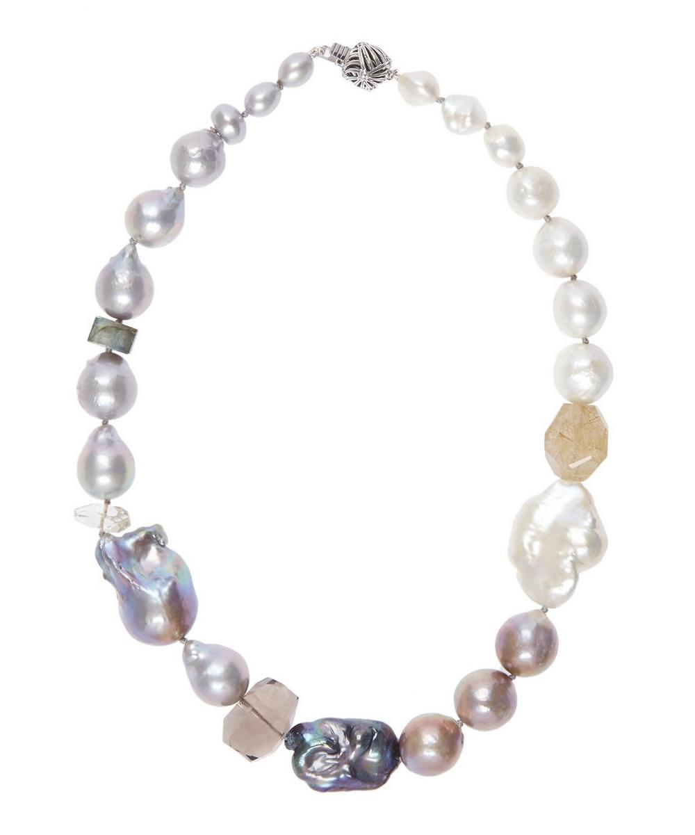 Baroque Pearl and Quartz Ball Clasp Necklace