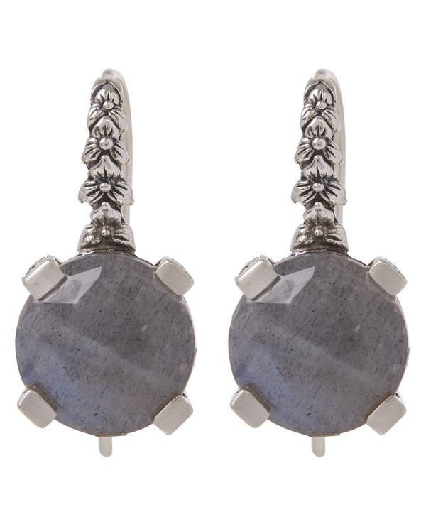 Silver Labradorite Engraved Floral Drop Earrings