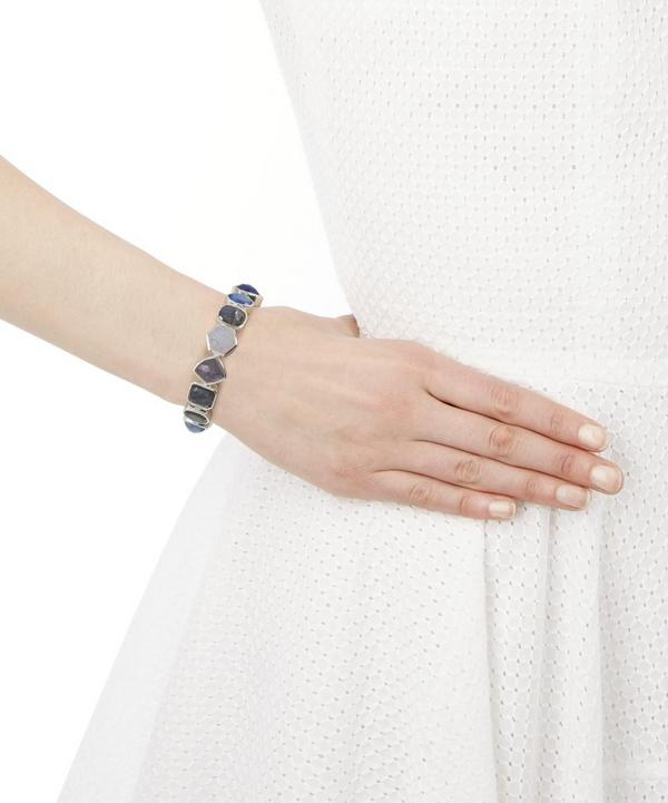 Silver Carved Multi-Stone Bracelet