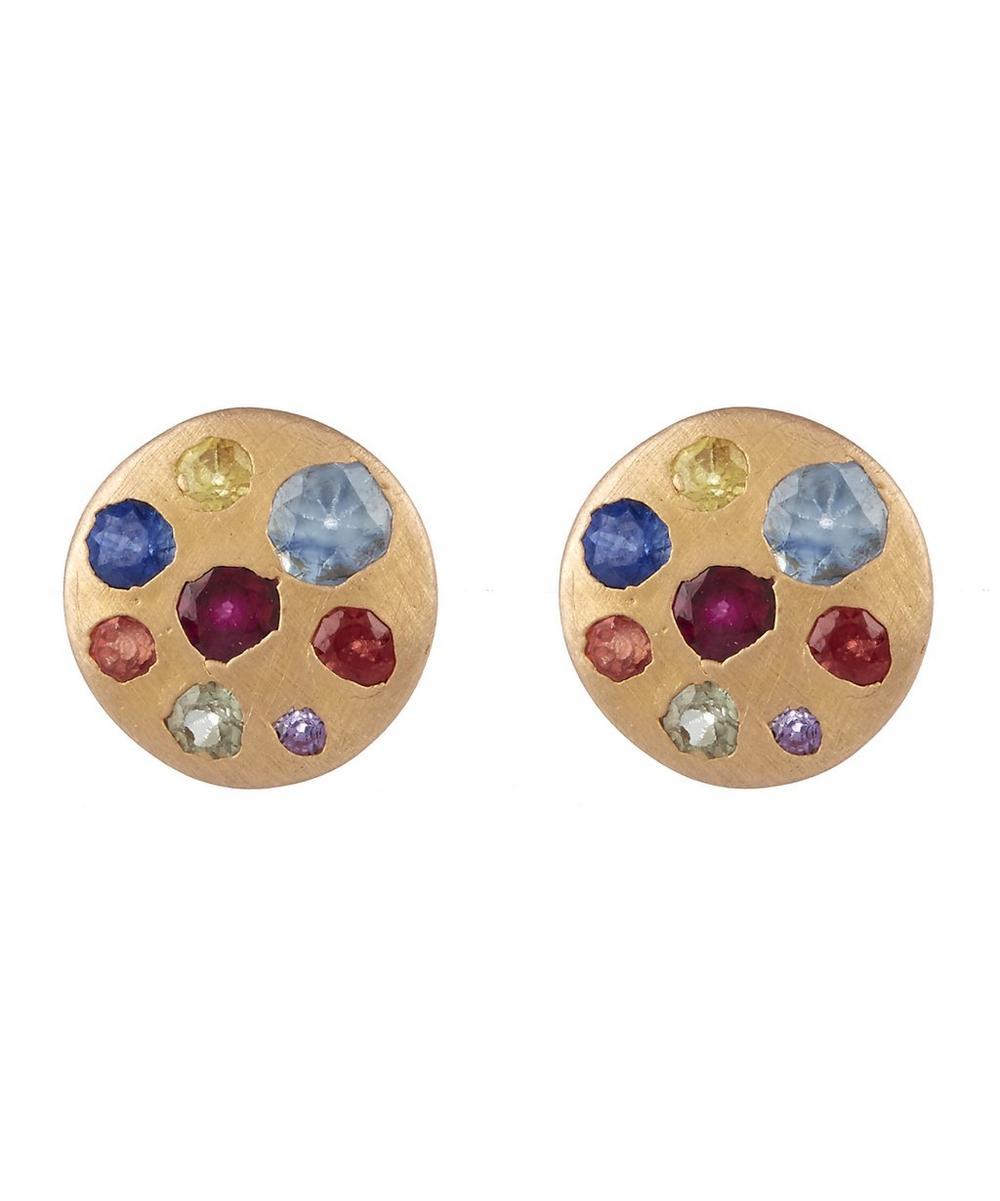Rose Gold Rainbow Sapphire Crystal Disc Studs
