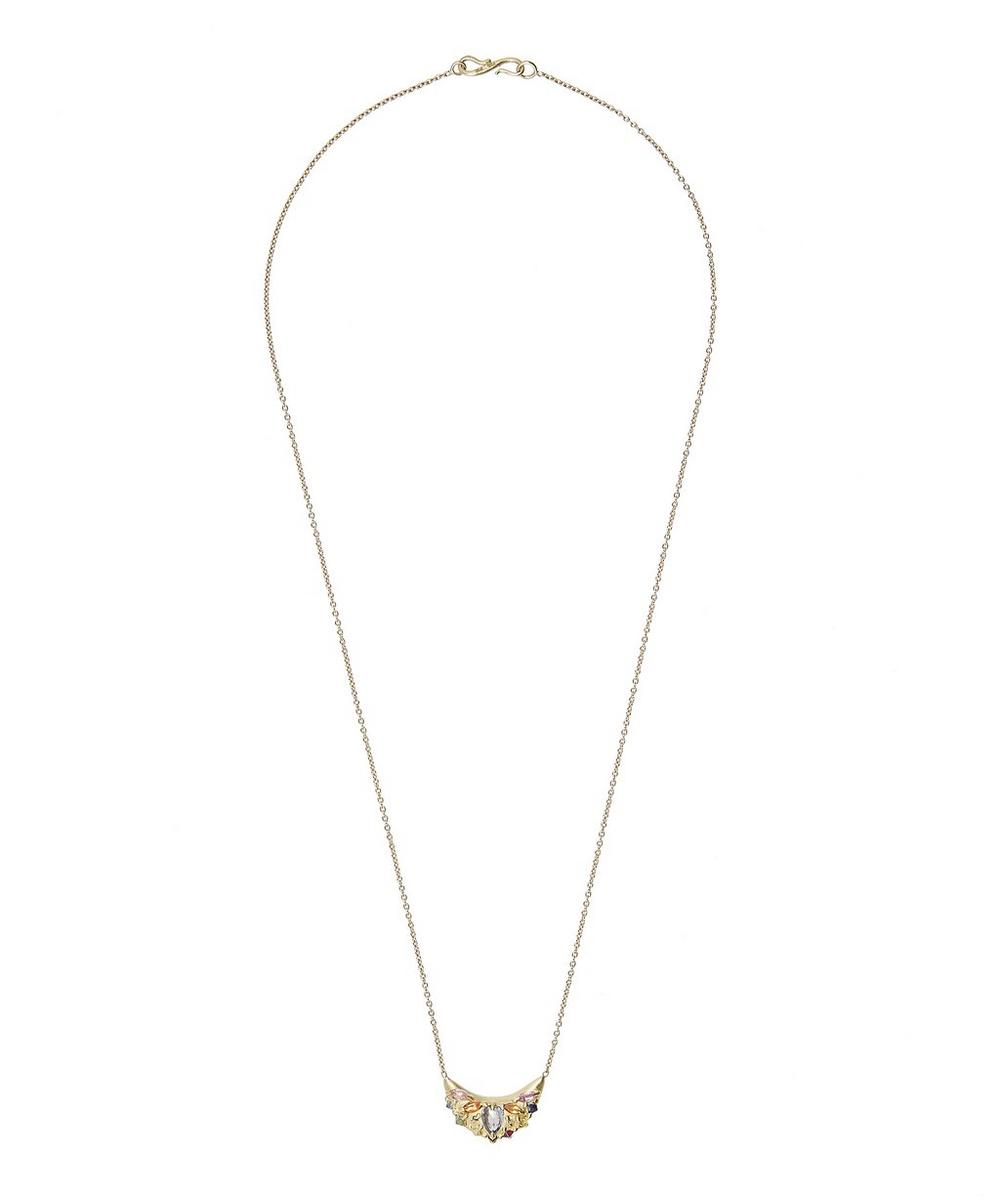 Gold Ourika Rainbow Sapphire Pinched Dome Pendant Necklace