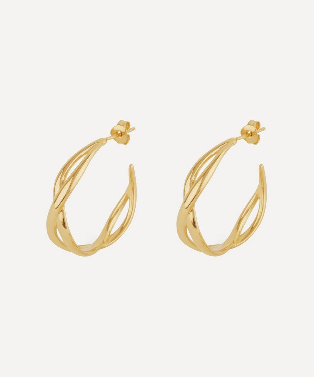 Gold Twist Small Open Hoop Earrings