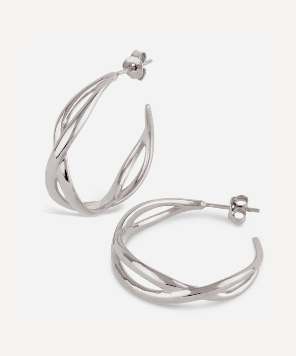 Silver Twist Small Open Hoop Earrings