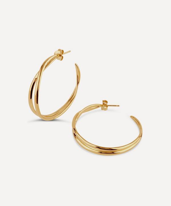 Gold Twist Medium Double Hoop Earrings