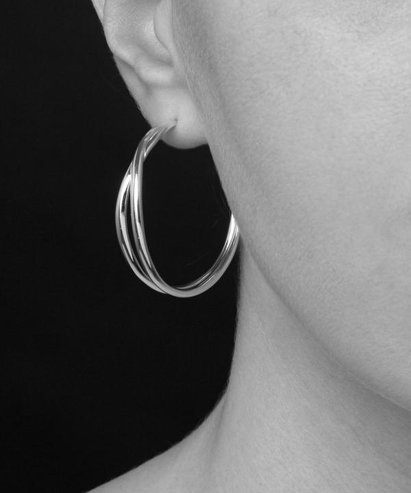 Silver Twist Medium Double Hoop Earrings