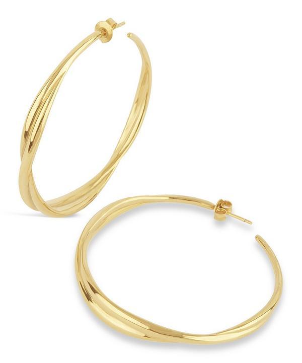 Gold Twist Large Hoop Earrings