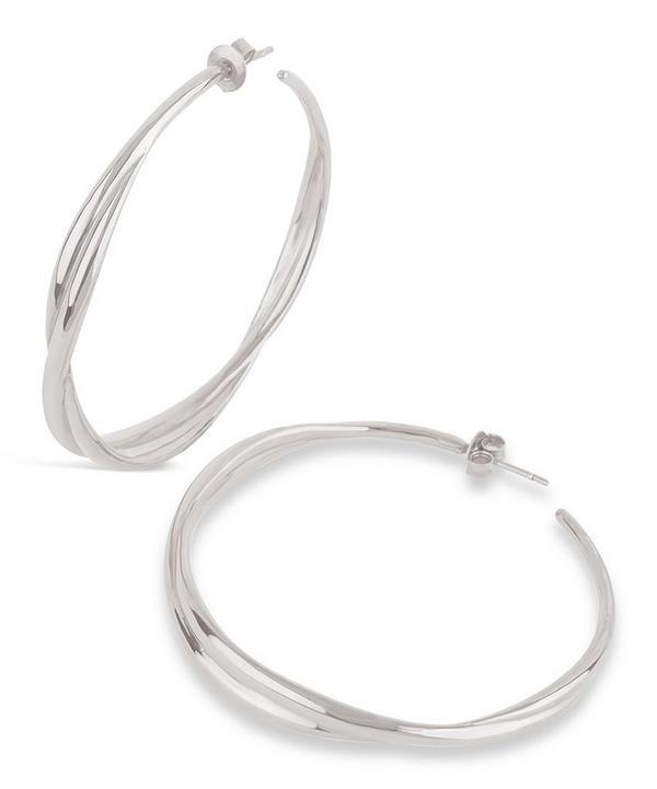 Silver Twist Large Hoop Earrings