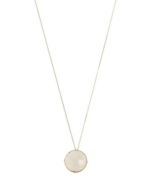 Suzanne Kalan Gold and Circular Lemon Quartz Pendant Necklace