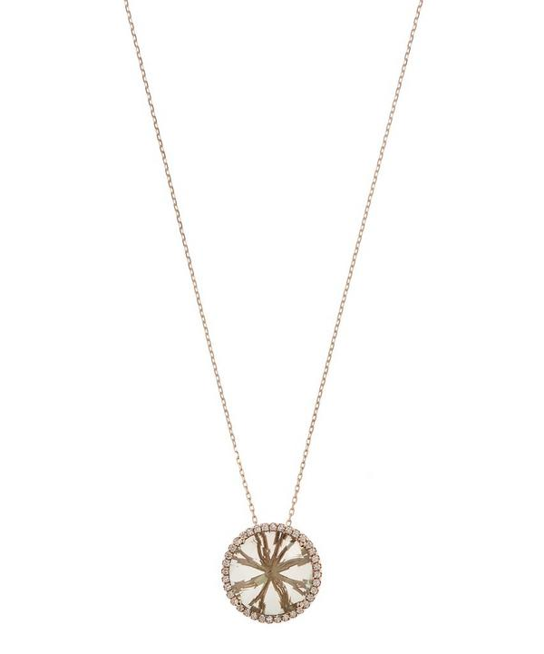Rose Gold White Diamond and Green Envy Topaz Pendant Necklace