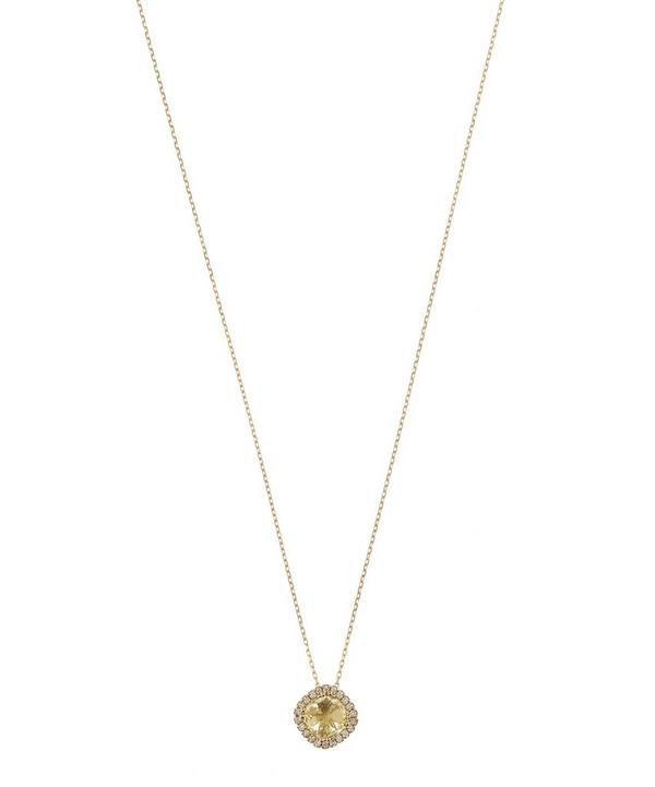 Kalan Gold Lemon Quartz and White Diamond Bezel Pendant Necklace