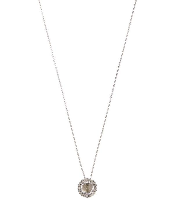 White Gold Diamond and Topaz Pendant Necklace