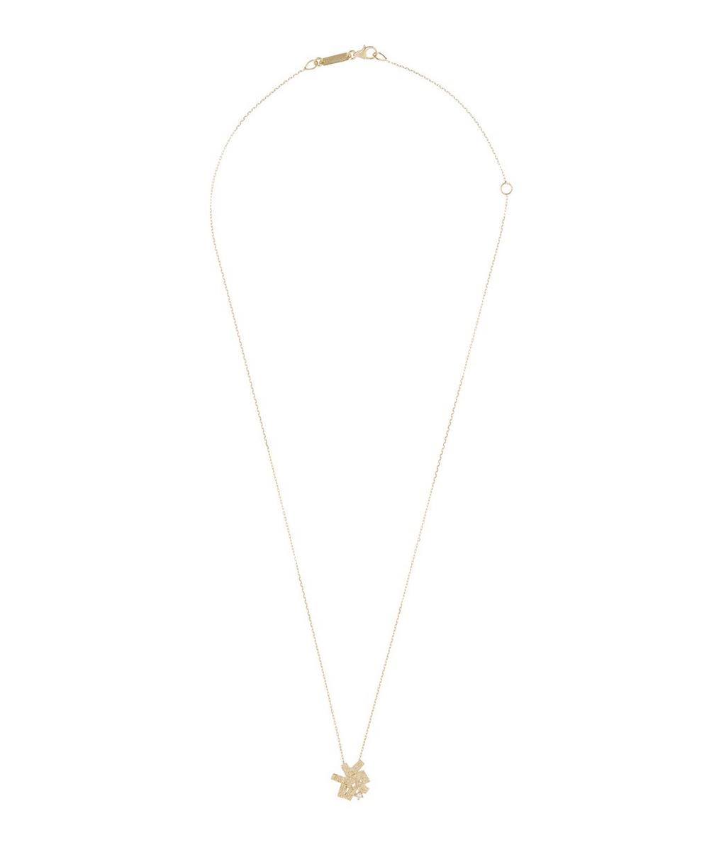 Gold Baguette Cluster White Diamond Necklace