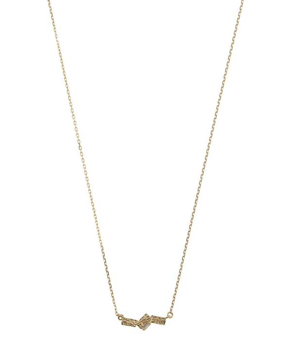 Gold and White Baguette Diamond Necklace