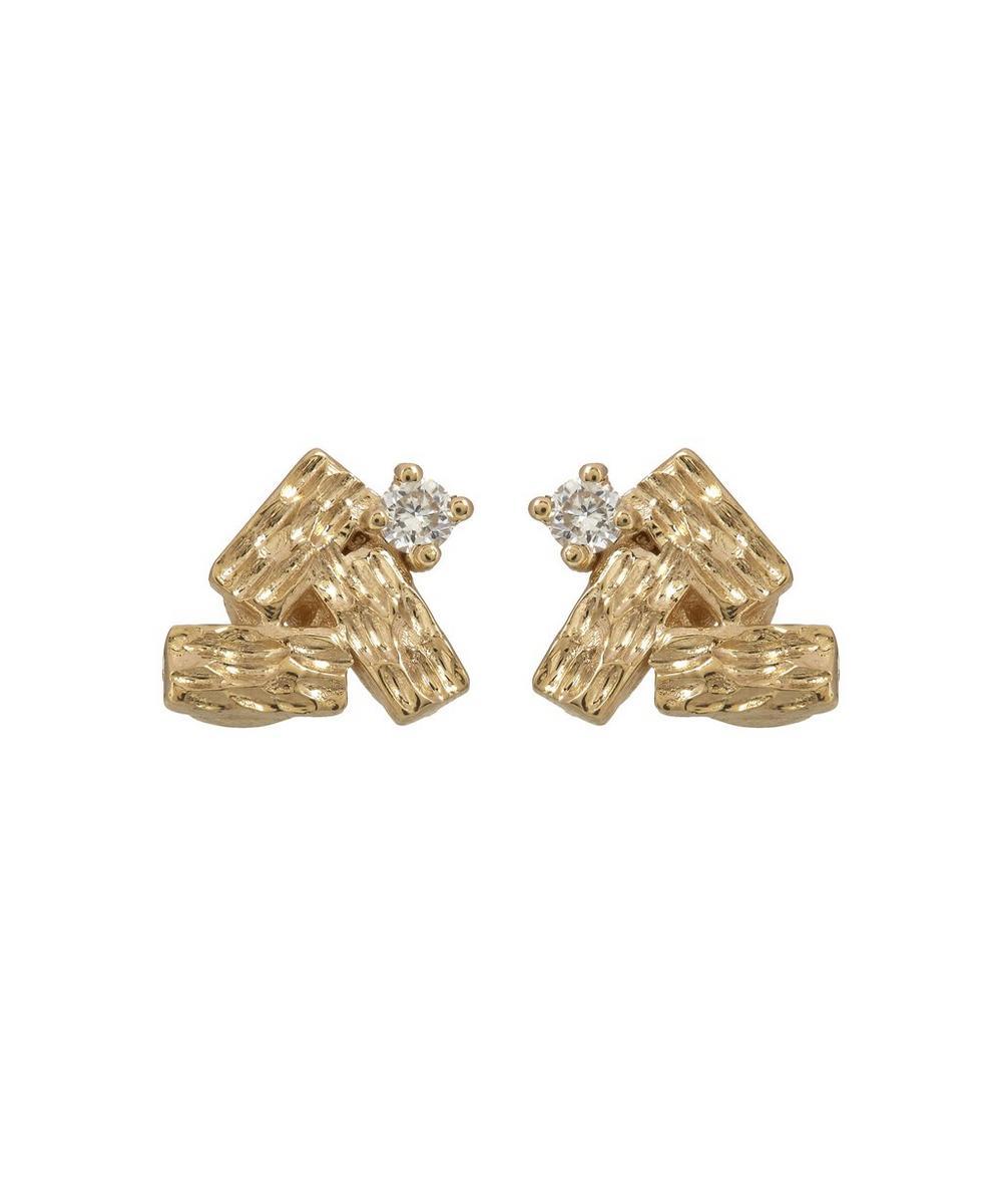 Gold Baguette Cluster White Diamond Earrings