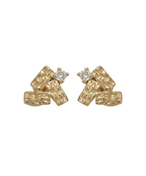 Gold Baguette Cluster White Diamond Earrings