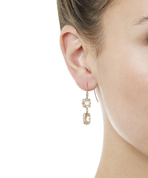 Rose Gold White Topaz Cushion and Barrell Drop Earrings