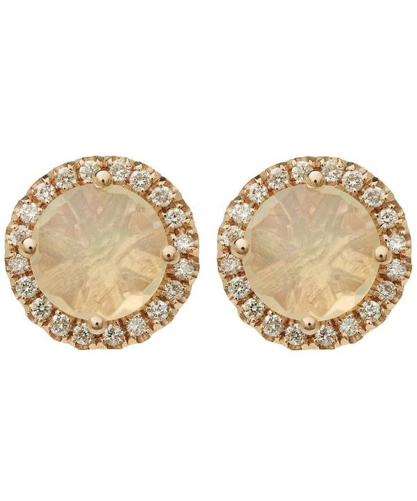 Rose Gold Round Opal Diamond Stud Earrings