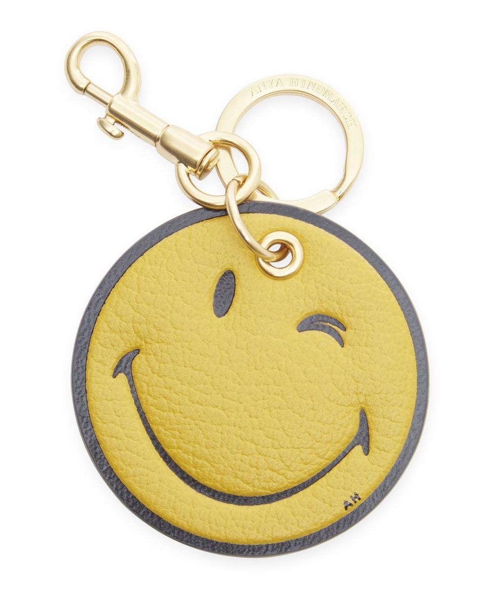 Capra Leather Smiley Wink Keyring