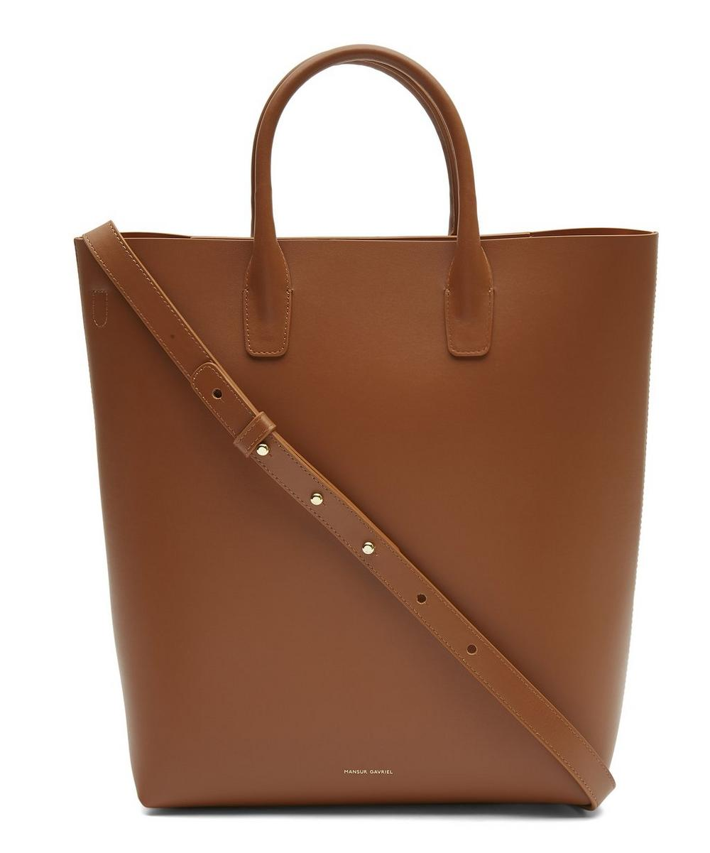 Calf Leather North South Tote Bag