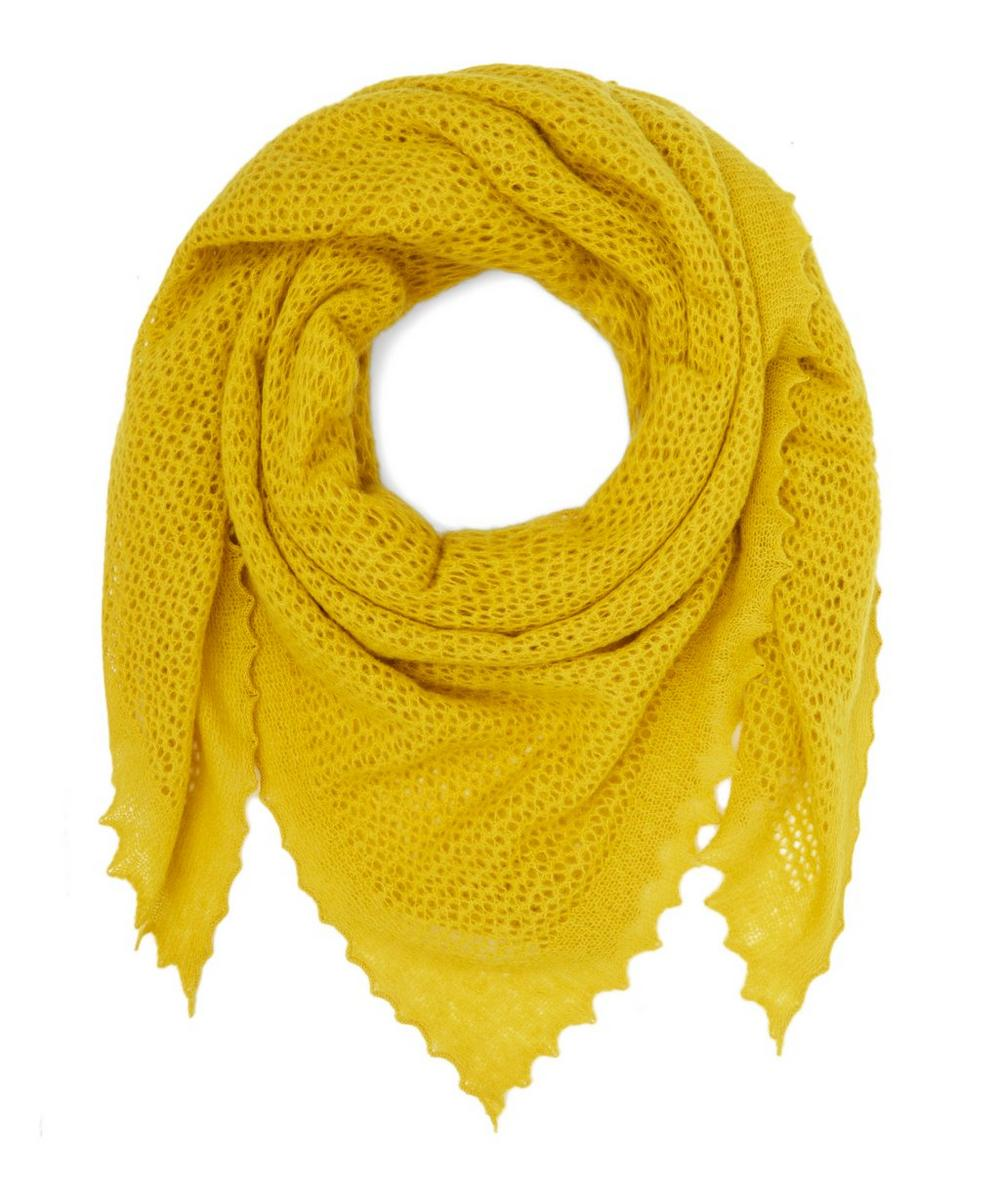 Knitted Lace Square Lambswool Scarf