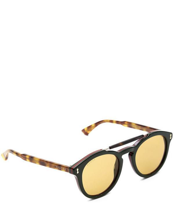 Round-Frame Nose Bar Sunglasses