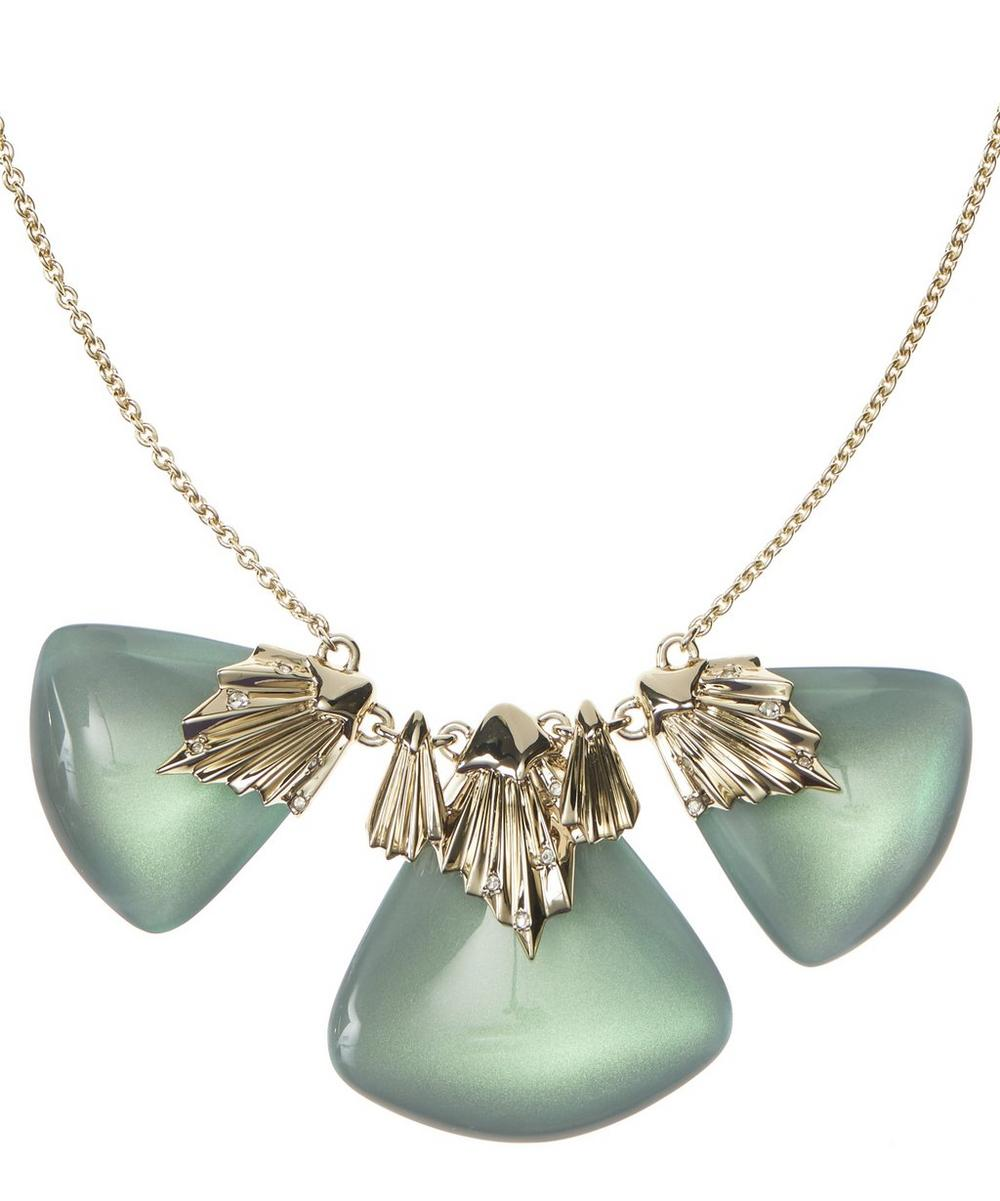 Gold-Plated Pleated Bib Necklace