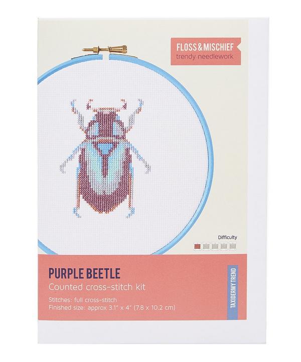 Purple Beetle Cross Stitch Kit