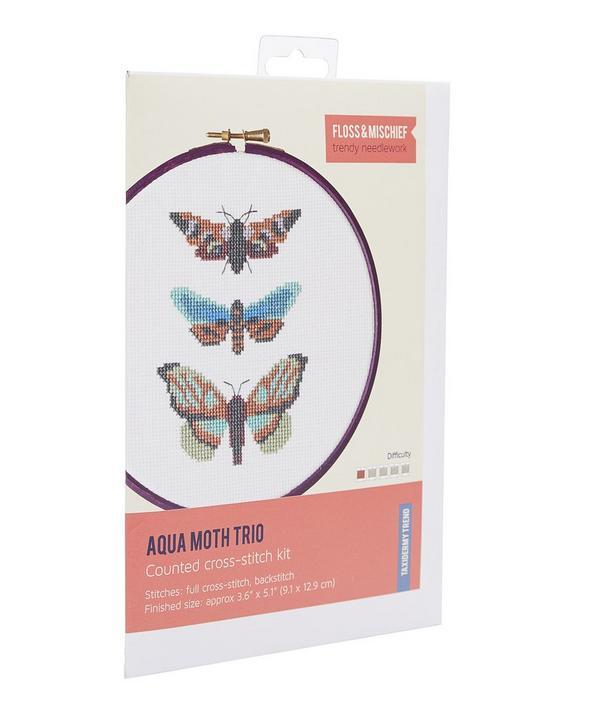 Aqua Moth Trio Cross Stitch Kit