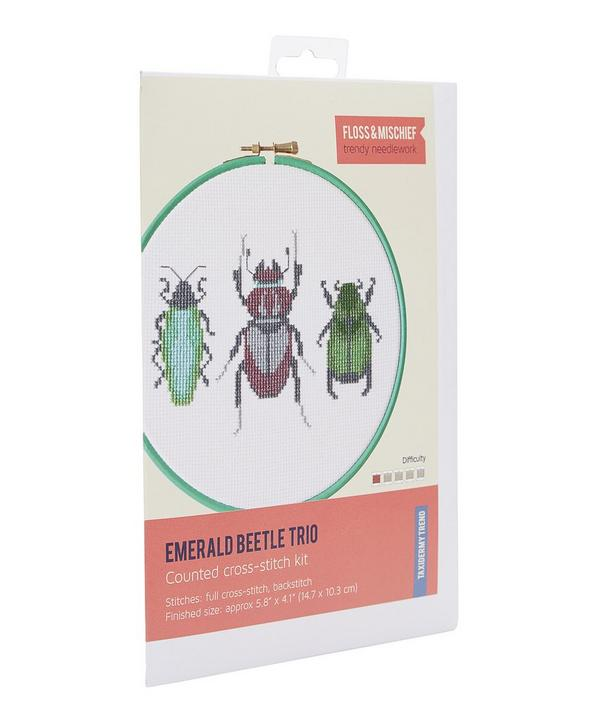 Emerald Beetle Trio Cross Stitch Kit
