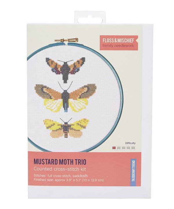 Mustard Moth Trio Cross Stitch Kit