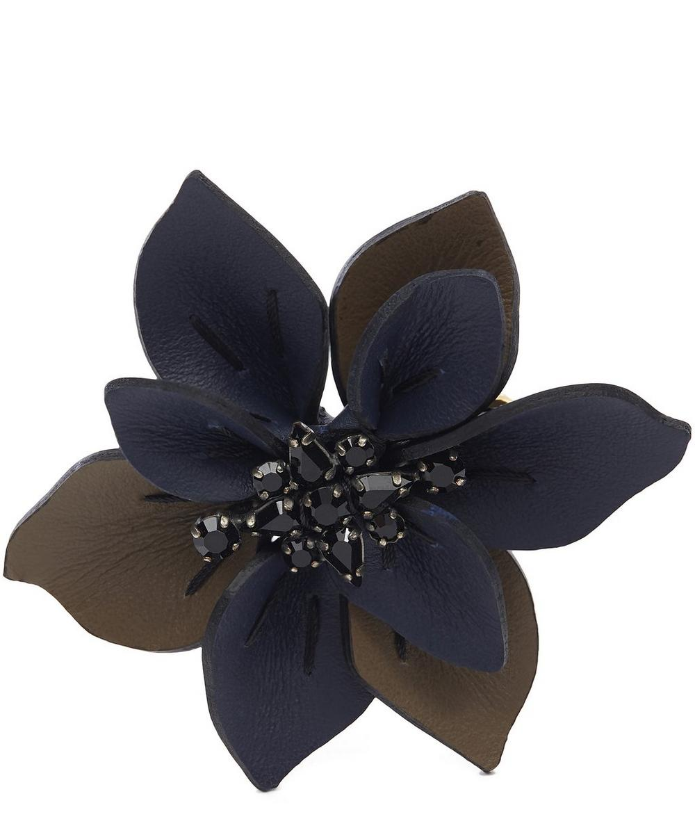 Leather and Crystal Flower Brooch
