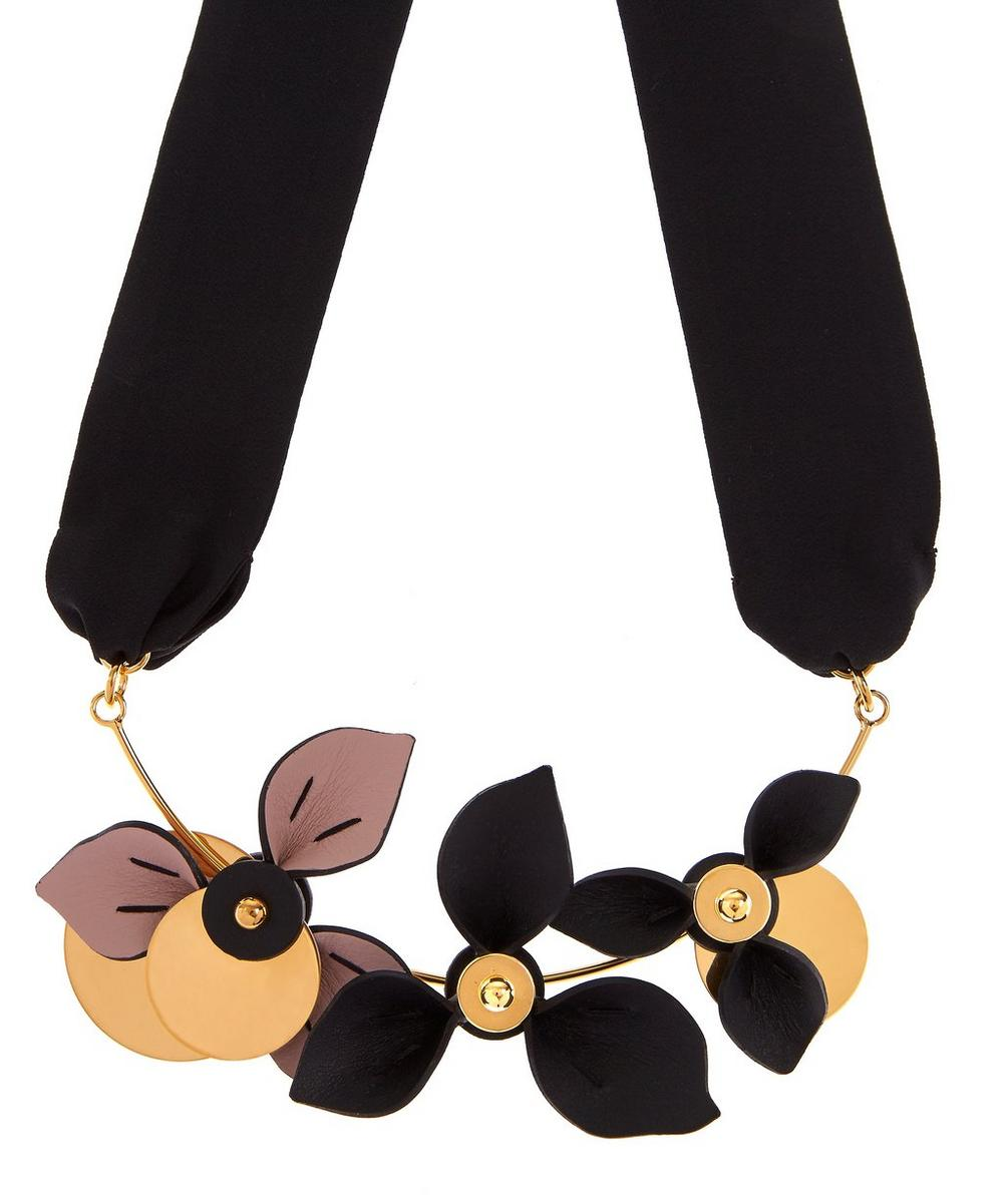 Leather Flower Trio Necklace