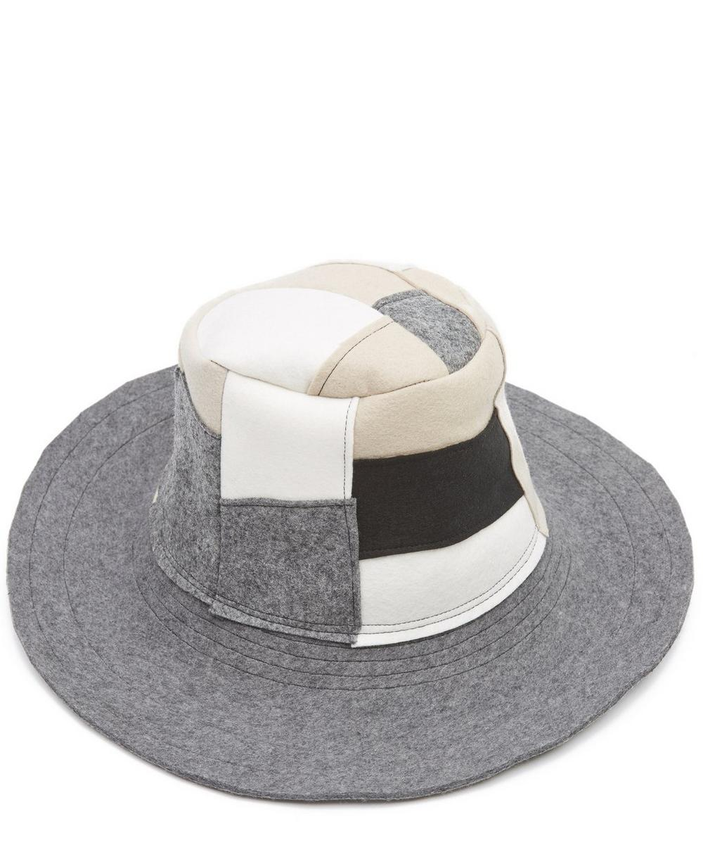 Mies Wool Felt Patchwork Wide Brim Hat