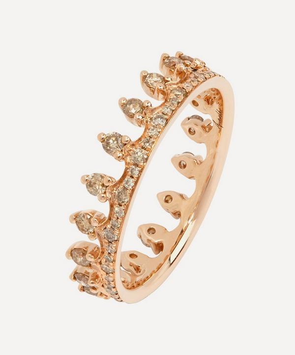 Rose Gold Brown Diamond Crown Ring