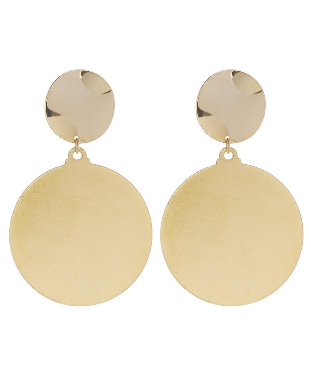 Gold-Plated Circle Line Oversized Disc Clip-On Earrings