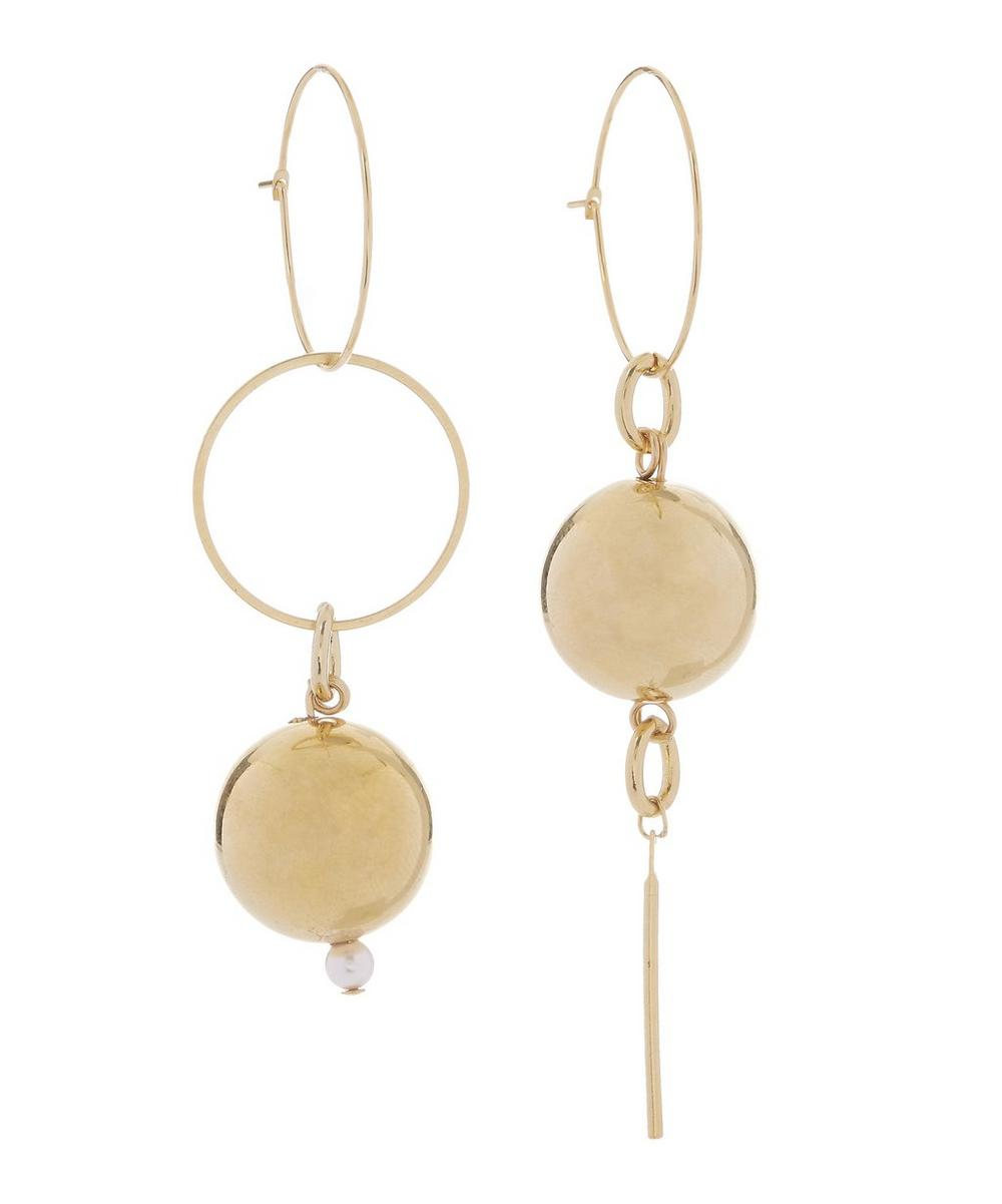 Gold-Plated Solar Ball Mini Drop Hoop Earrings