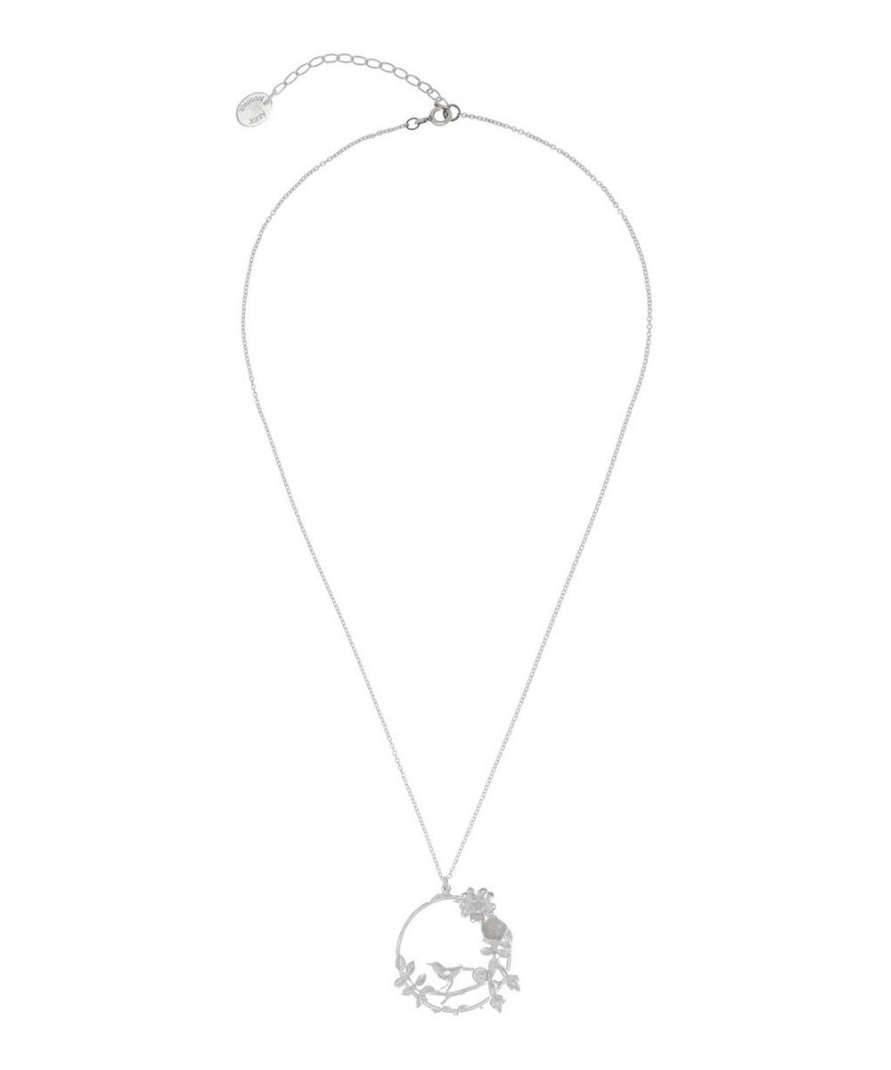 Silver and Pearl Wild Rose Bird Loop Pendant Necklace