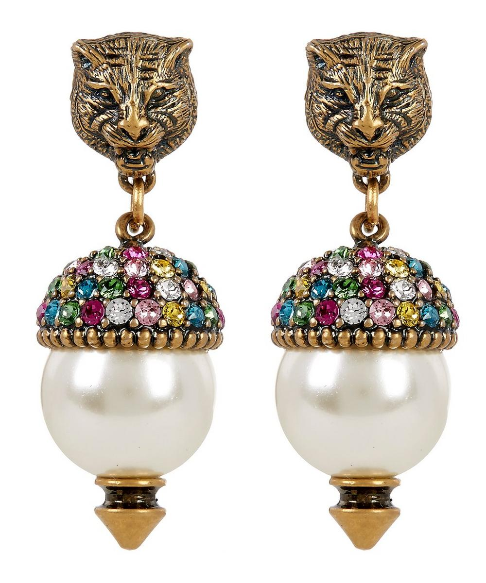 Crystal Stud Feline Head Earrings