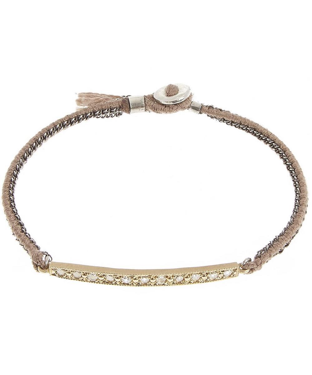 Gold and Diamond Bar Silk Woven Bracelet