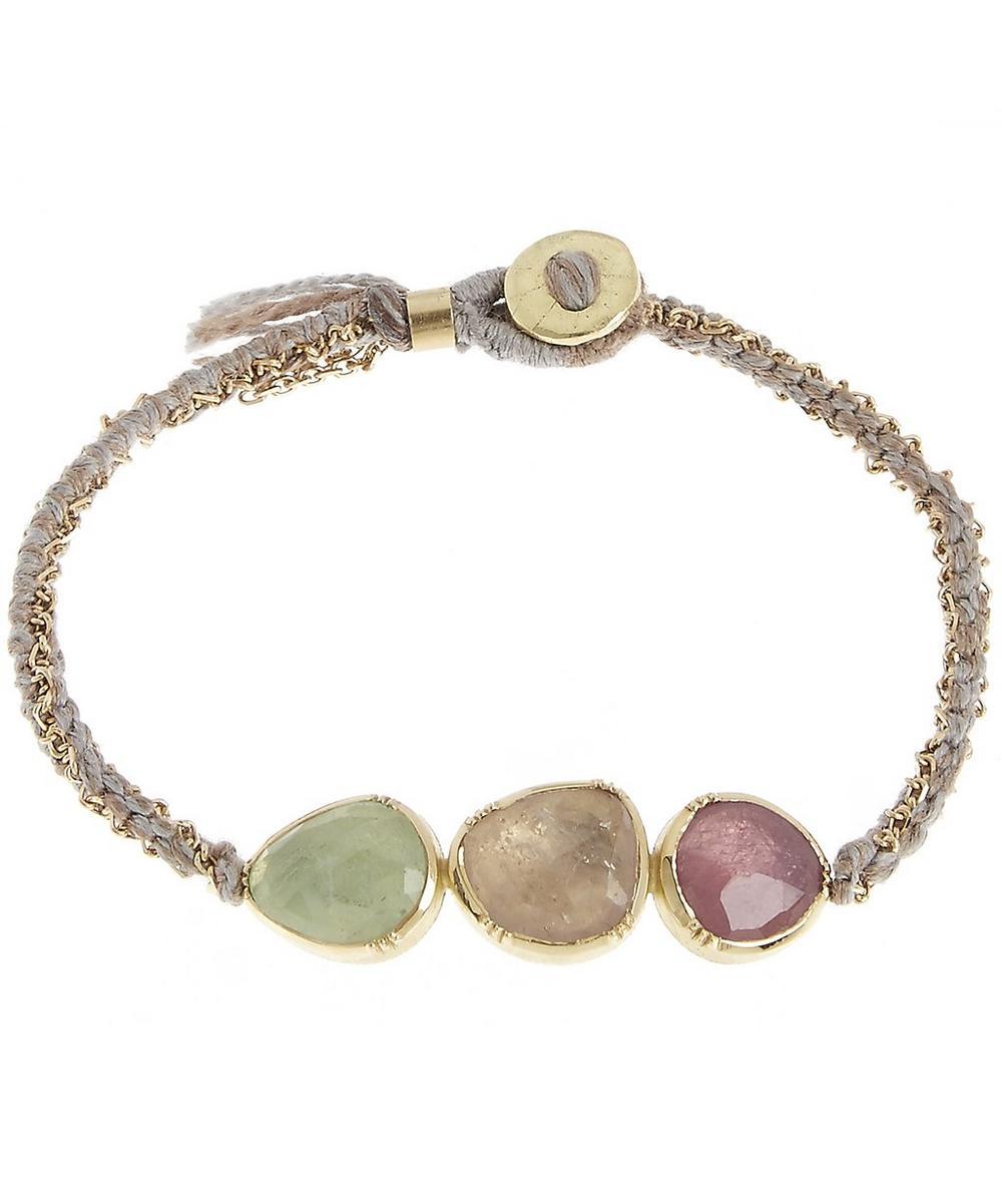 Brooke Gregson Gold Triple Orbit Emerald and Pink Sapphire Silk Woven Bracelet