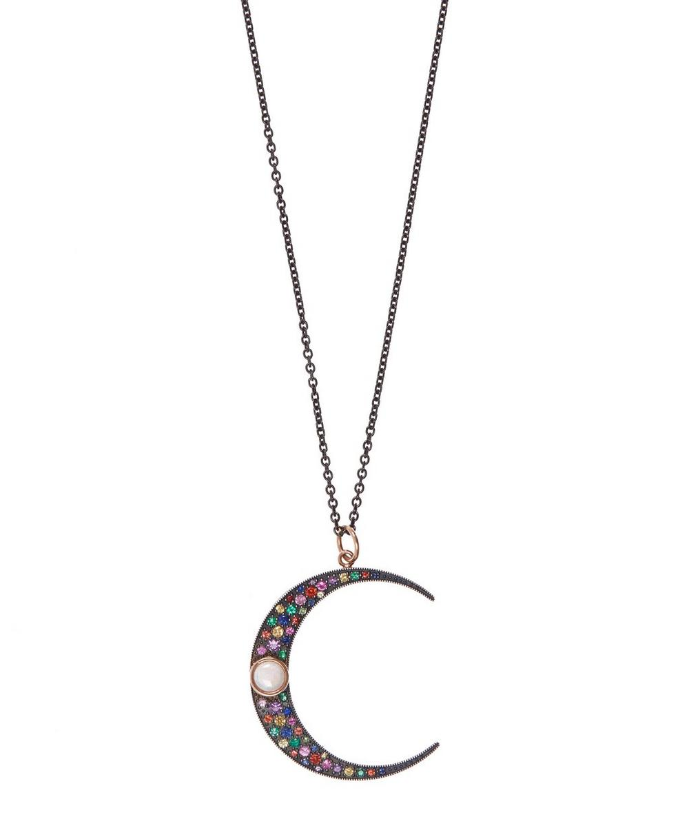 Large Rose Gold Luna Mixed Stone Pendant Necklace