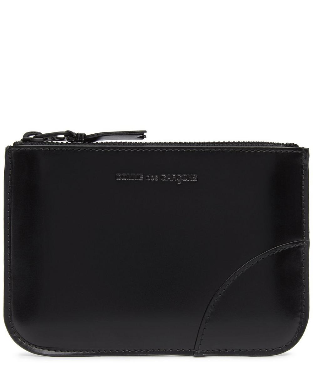 Very Black Small Leather Zip Pouch