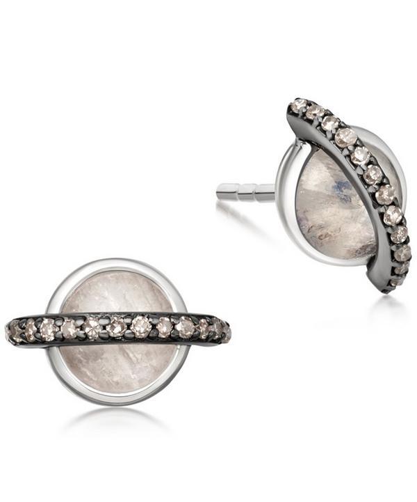 Rainbow Moonstone Saturn Stud Earrings
